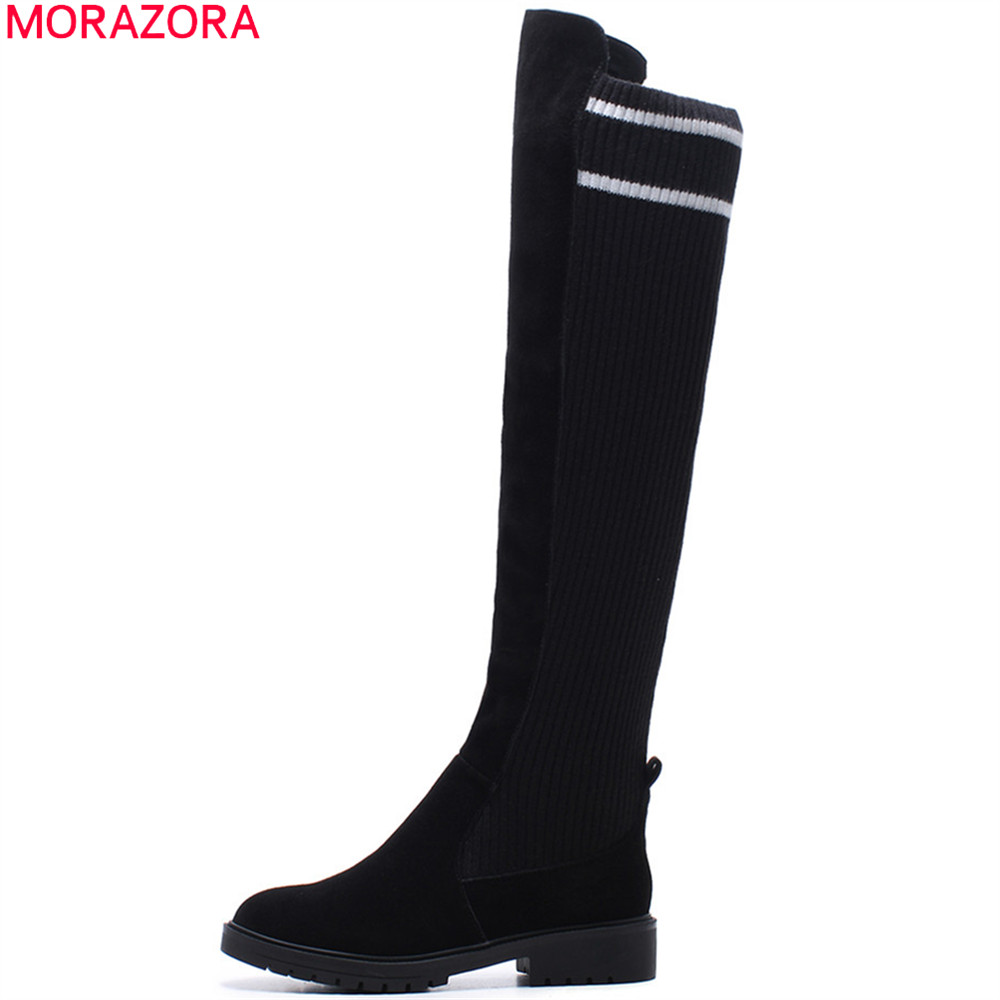 MORAZORA fashion new arrive women boots round toe slip on cow suede +stretch fabric ladies boots round toe over the knee boots spring 2016 new arrive women fashion boots solid casual boots round waterproof high heeled women boots stretch stovepipe boots