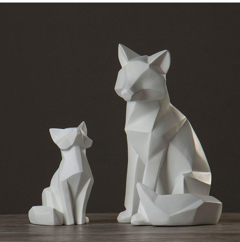 Sala de Visitas Simples Branco Abstrato Geométrico Fox Ornamentos Escultura Criativa Moderna Geométrica Nórdico Decoração Home Ap503915