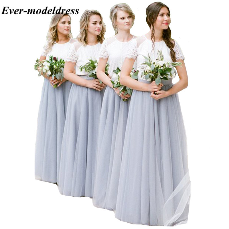 A-Line O-Neck Soft Tull   Bridesmaids     Dresses   Floor Length Lace Long   Dress   for Country Wedding Party Gowns Prom   Dresses   2018
