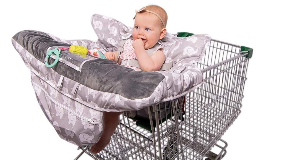 Роскошные 2-в-1 Детские покрывало для магазиннной тележки& высокое чехлы на стулья с ремнями безопасности для младенцев и детей ясельного возраста(унисекс серый - Цвет: Gray Elephant