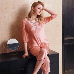 Новая мода Mid-Пижама с рукавами Женская Весенняя и осенняя одежда Сексуальная кружевная Домашняя одежда два комплекта женский пижамный