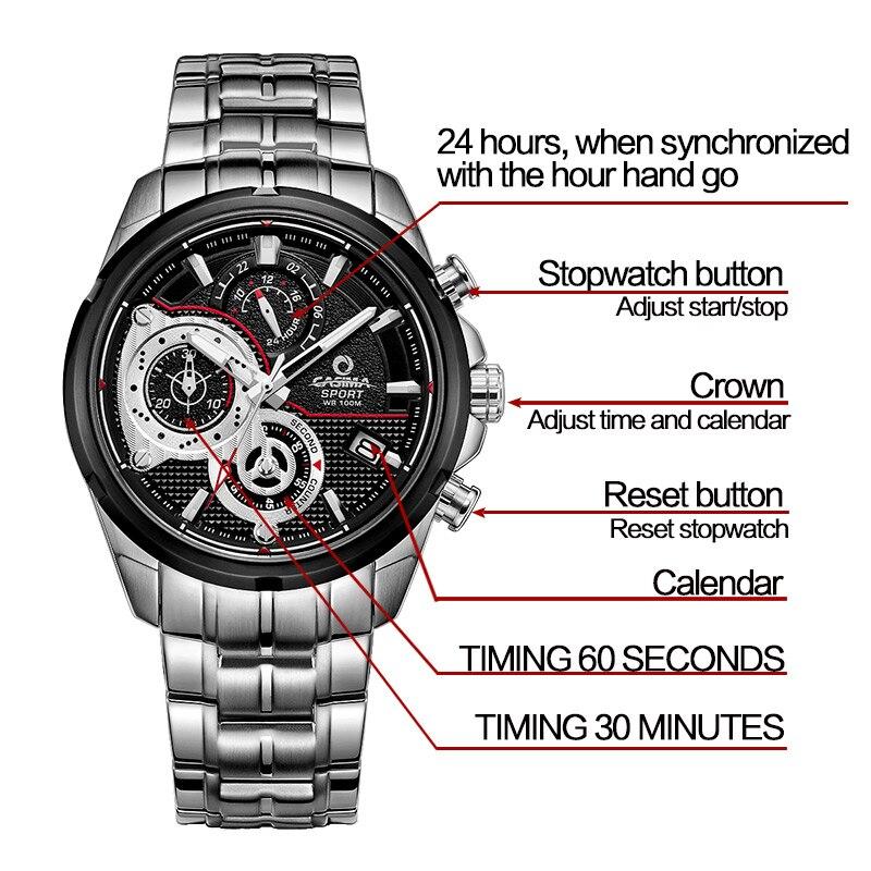 Lüks Marka İdman Kişi Saatı Kvars Saatı Təsadüfi - Kişi saatları - Fotoqrafiya 5