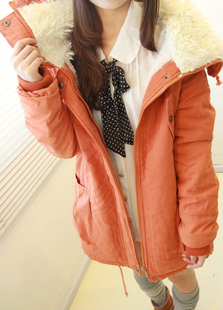 2015 winter thermal medium-long all-match thickening berber fleece wadded jacket cotton-padded jacket outerwear female