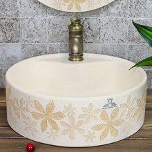 Luxurious Mediterranean carve patterns or designs on woodwork stage basin. The sink