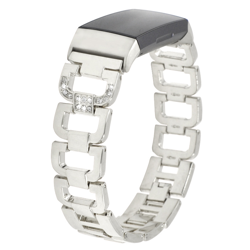 Suitable for Fitbit Metal Strap Charge3 Smart Strap with D shaped Diamond Stainless Steel Metal Watch Strap in Watchbands from Watches