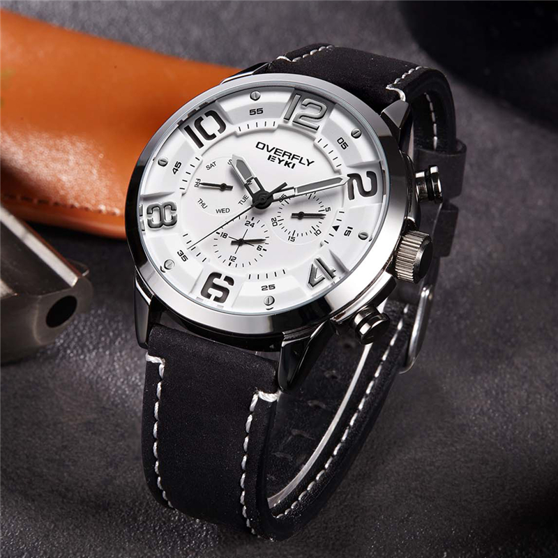 EYKI reloj hombre Fashion Mens Watches Top Brand Luxury Leather Quartz Watch Luminous Sport Men Wrist Watch Male Clock Black