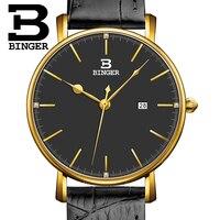 Szwajcaria BINGER zegarki damskie luksusowe marki kwarcowy lclock eather pasek ultracienkich kalendarz zegarki na rękę wodoodporny B3053W 5 w Zegarki damskie od Zegarki na