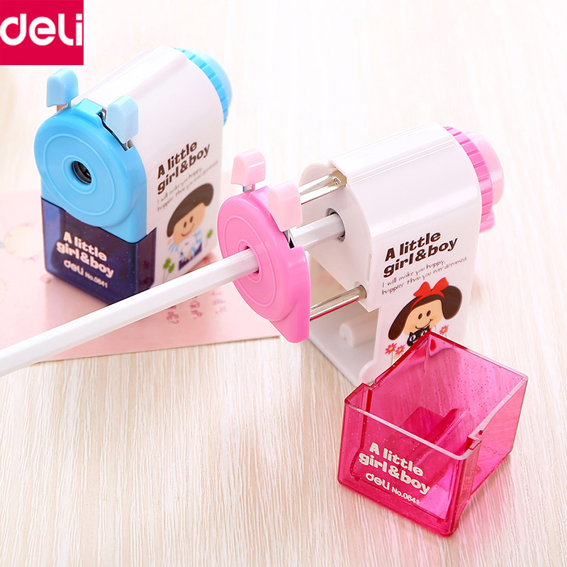 цена Deli Pencil Sharpener Automatic Student Manual Mechanical Sharpeners Tools Cute Stationery School Office Supplies