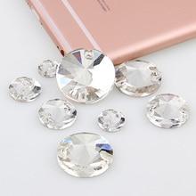Круглый Rivoli 8,10, 12,14, 16,18, 20 мм пришивные камни кристально чистый плоский с оборота 2 отверстия стеклянный камень для пришивания DIY свадебное платье