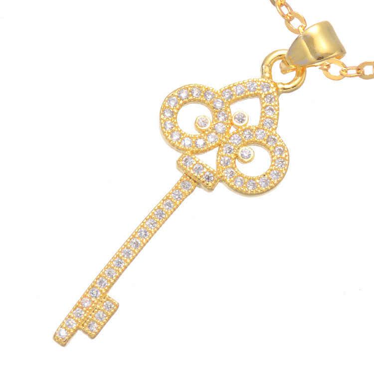 2016 3 colores joyería de moda Irises collar Micro pavé claro AAA circón cúbico diseño clásico flor llavero collar Joyas