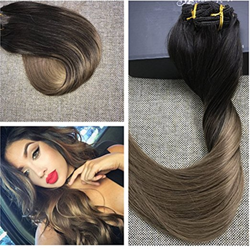 Full Shine Balayage Color 2 Ombre 8 Clip Ins Extensions Dip Dye