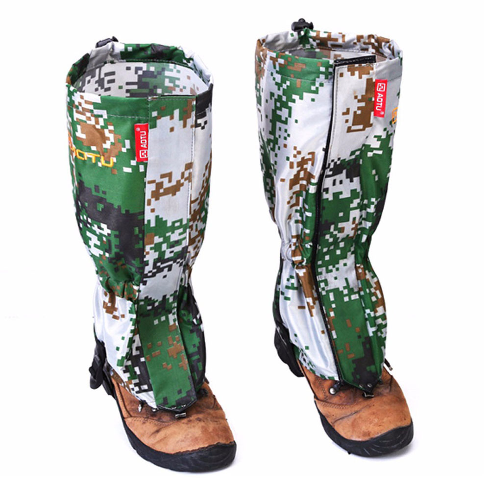 AOTU New Outdoor Camouflage Water-resistant Gaiters Leg Protection Guard Skiing Hiking Camping Climbing Protect Equipment