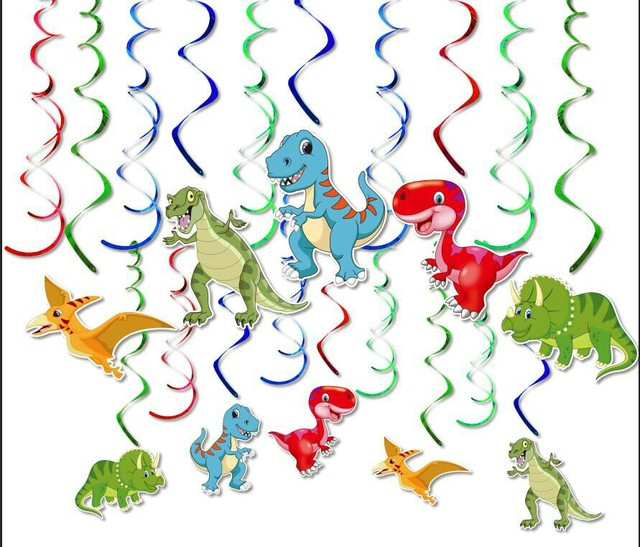 30pcs Dinosaur Hanging Swirl Decorations Dino Fossil T REX Birthday Party Supplies Ornaments Whirls Kids Favors