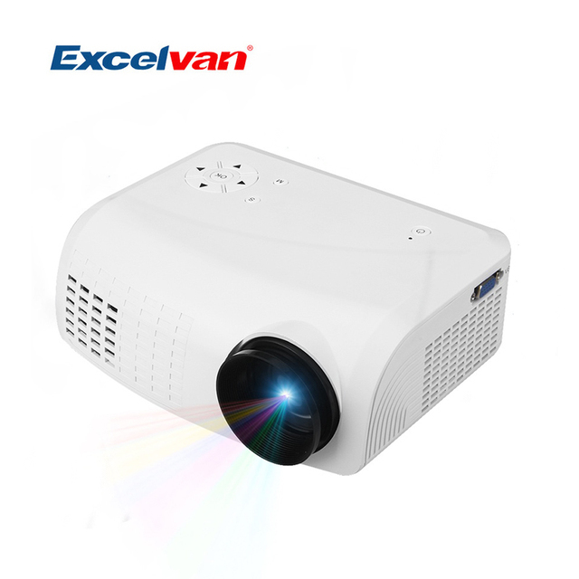 Excelvan E07 Portable Mini LED LCD Projectors Home Theater AV/USB/VGA/HDMI//TF 640*480 Support 3D Films Black Color US EU Plug