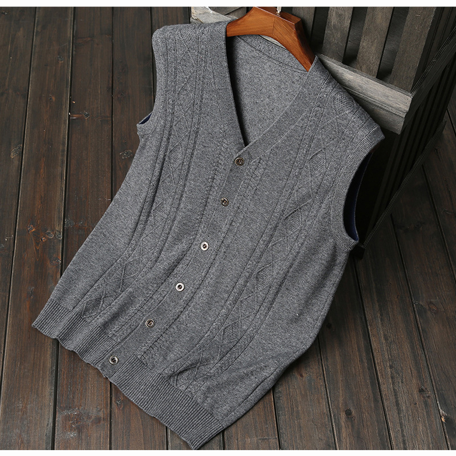 New Men's Wool Sweater Cardigan Sleeveless Buttons Down Basic Knit ...