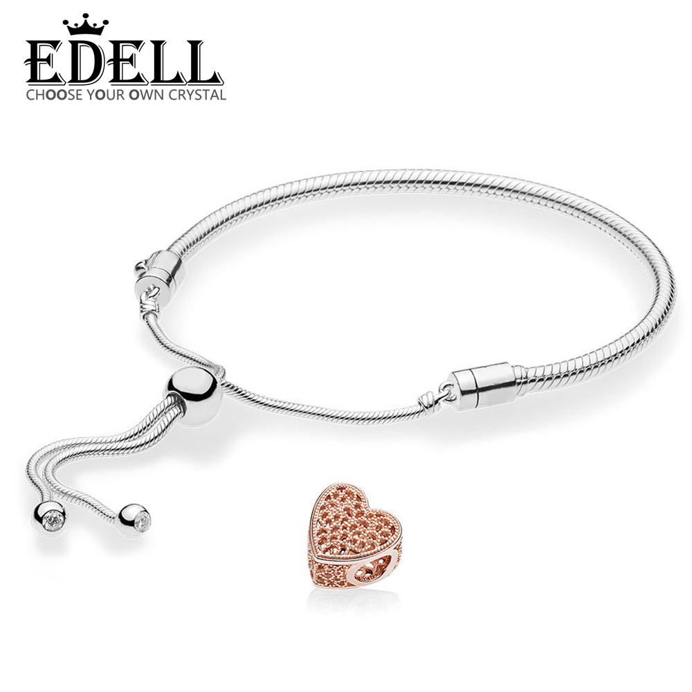 EDELL 100% 925 argent Sterling nouvelle perle de charme ajouré ROSE avec brassard coulissant romantique adapté pour l'ensemble de mode des femmes