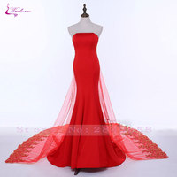 Waulizane Sexy Mermaid New Design Simple Prom Dresses Georgeus Appliques Beaded Sequined Strapless With Bow Vestidos De Festa