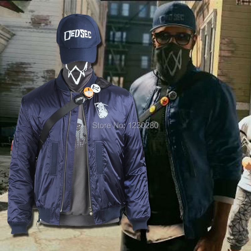 Watch Dogs 2 Costume Marcus Holloway Cosplay Costume Blue ...