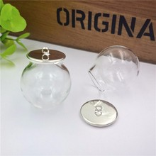 NEW 100 sets/lot silver color 25x15mm glass globe with base set  vial pendant bottle