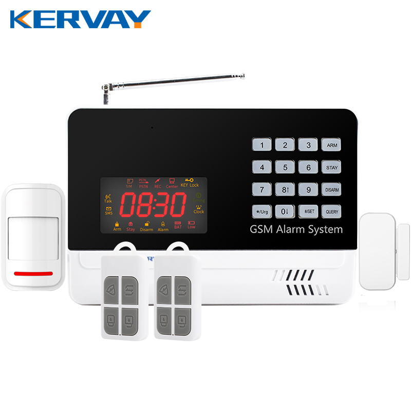 IOS Android APP LCD Smart Touch Keypad Wireless wired GSM Band SMS Home Security Voice Burglar Alarm System Auto Dial fuers smart app control wireless wired home gsm sms security alarm system auto dial with infrared detector door open reminder