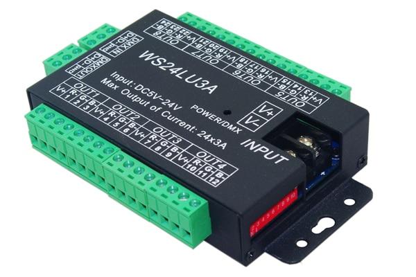 24 kanálový DMX512 RGB řadič 8 skupin RGB 24CH DMX512 dekodér DC5-24V vstup na každý kanál max. 3A