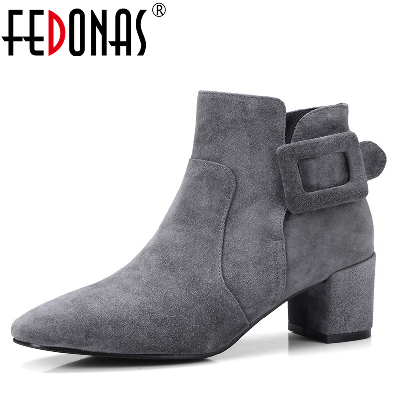 Fedonas 1fashion Women Ankle Boots Autumn Winter Warm Suede Leather High Heels Shoes Woman Buckle Office