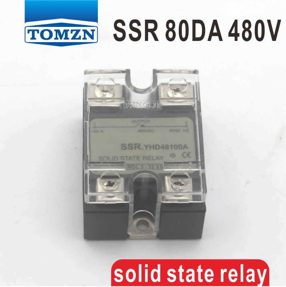 цена на 80DA SSR Control 3-32V DC output 24~480VAC High voltage single phase AC solid state relay