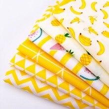 Serie amarilla de tela de algodón de retazos de alta calidad Material de costura de algodón transpirable para bebés y niños por metros