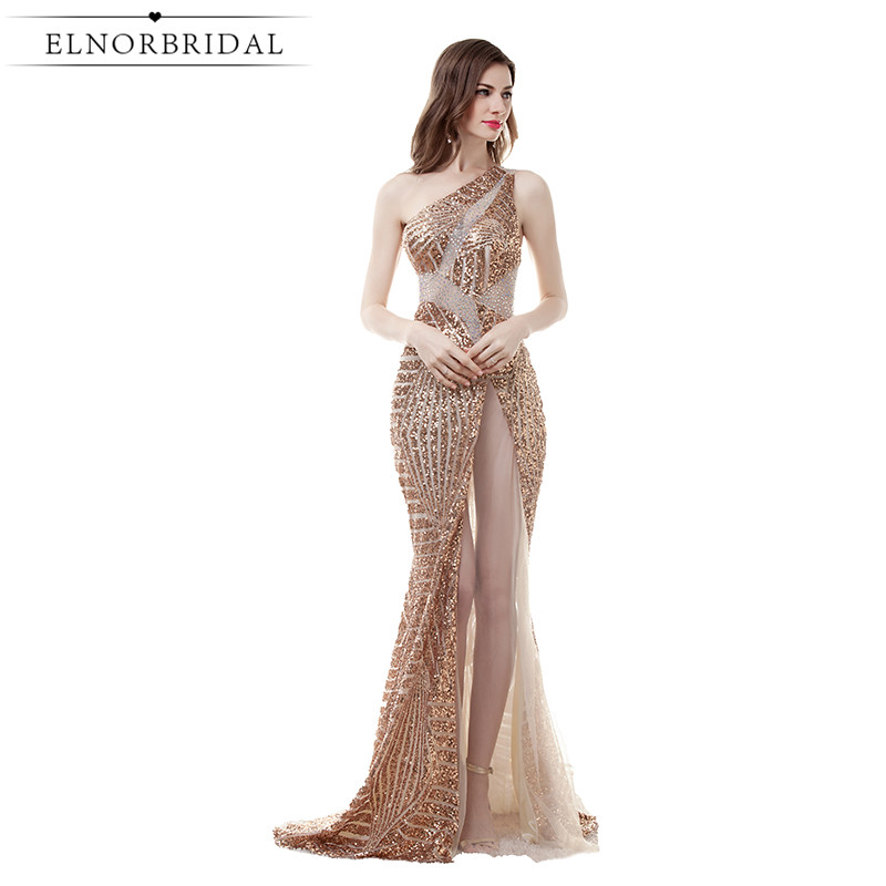 Champagne Sequins Evening Dresses Mermaid 2017 See Through Prom Dress Formal Long Imported Party Gowns Vestido De Noche