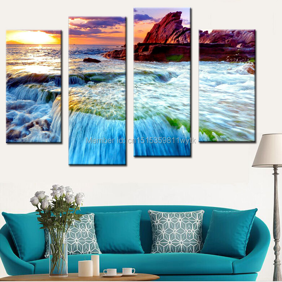 4 panel modern rock beach seaview canvas prints painting for Rock home decor