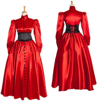 Women's Red Medieval Renaissance Victorian Evening Dresses Costume Ball Gown Party Carnival Dresses Custom Made