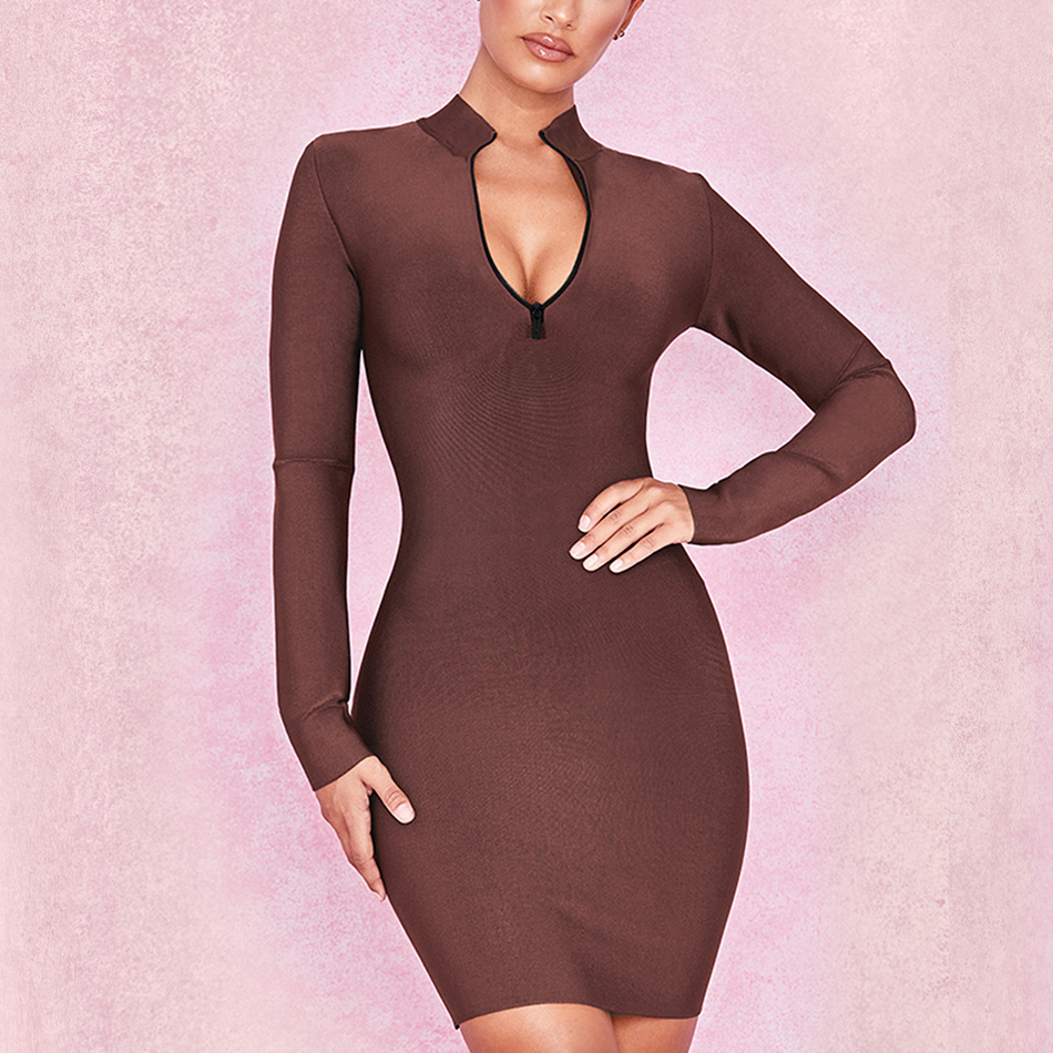 Adyce 2019 New Autumn Bandage Dress Women Elegant Celebrity Evening Party Dress Vestidos Sexy Long Sleeve