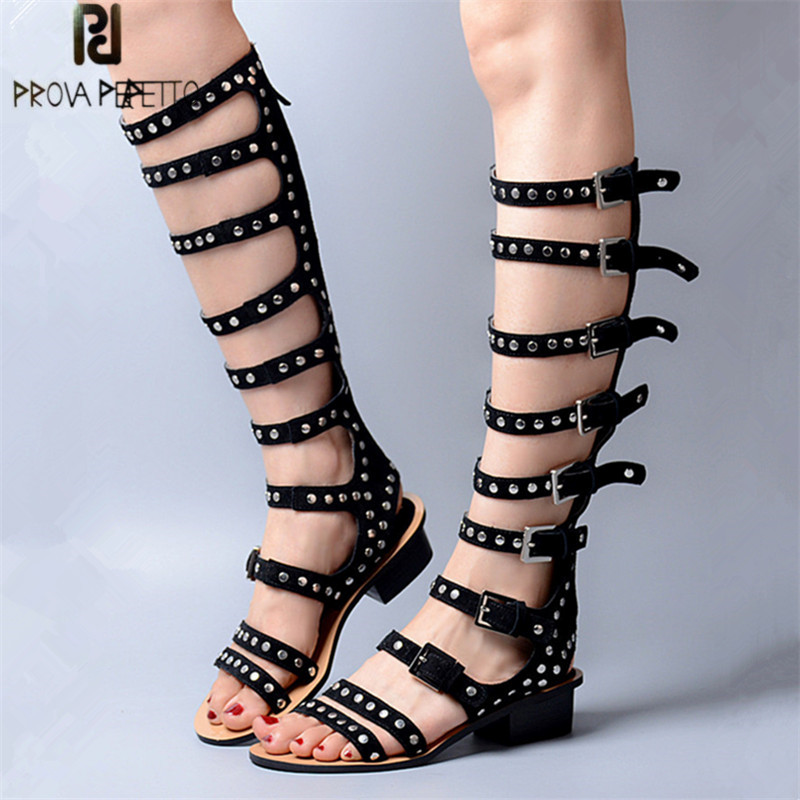 Prova Perfetto Full Rivets Studded Women Sandals Straps Suede Low Heel Gladiator Sandal Hollow Out Summer Boots High Boats цены онлайн