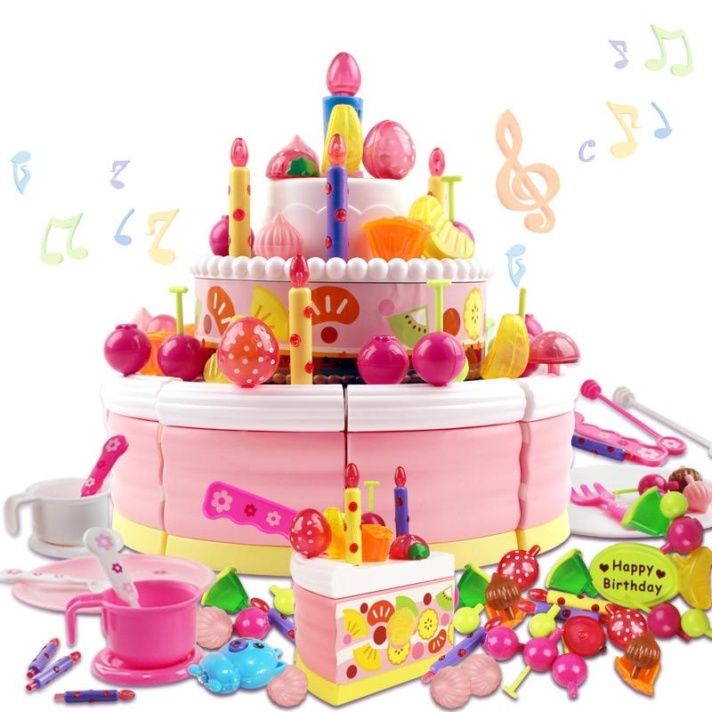 98pcs Luxury Large Simulation Birthday Cake Singingrecordlight