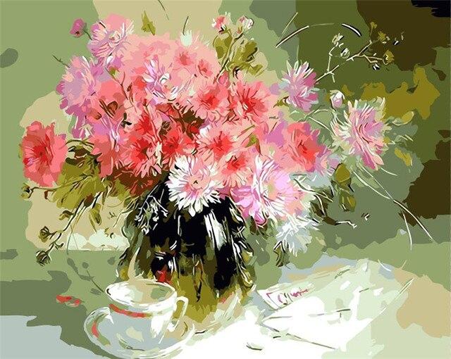 Pink Vas Bunga Carnation Spring Lukisan Cat Minyak Lukisan Dengan