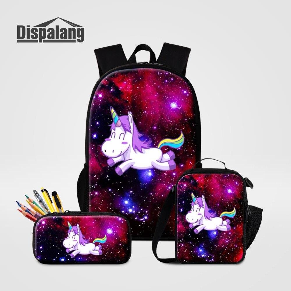 16 pouces sac à dos avec sac à lunch porte-crayon 3 pièces ensemble pour étudiant primaire galaxie licorne impression sac d'école sac à dos personnalisé