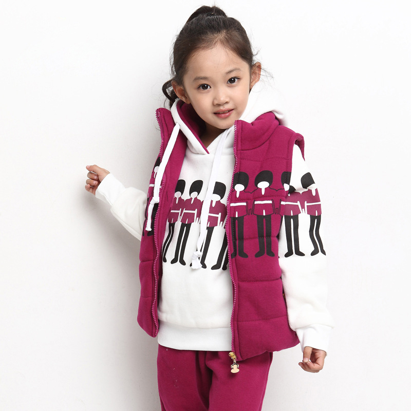 ФОТО New Winter Girl Clothing Sets For 3-14Y Vest+Hoodie+Pant,Kids Casual Soldiers Thick Cotton Coat Clothes Outerwear