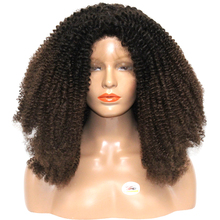 Dlme 150% Heavy Density 16-26 Inch #1/4B Ombre Brown Kinky Curly Synthetic Lace Front Wig Heat Resistant Fiber For Black Women