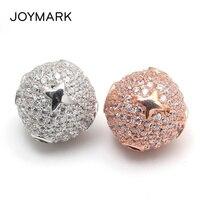 JOYMARK 13mm Star Pattern Micro Pave CZ Zircon 925 Sterling Silver Round Spacers Beads Fine Jewelry Accessories SB CZ606