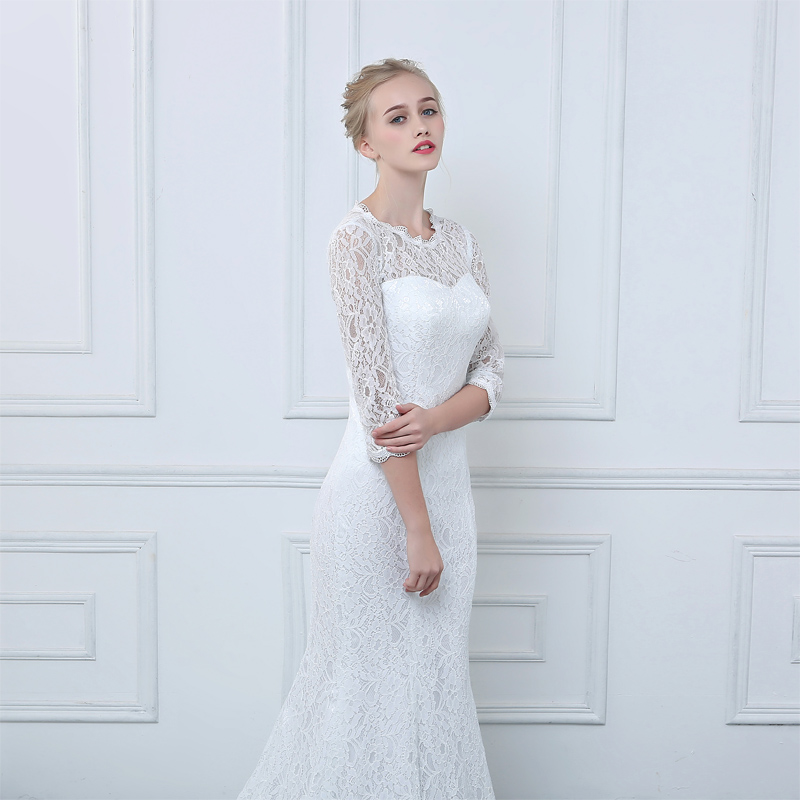 White Lace 3/4 Sleeves Mermaid Wedding Dress