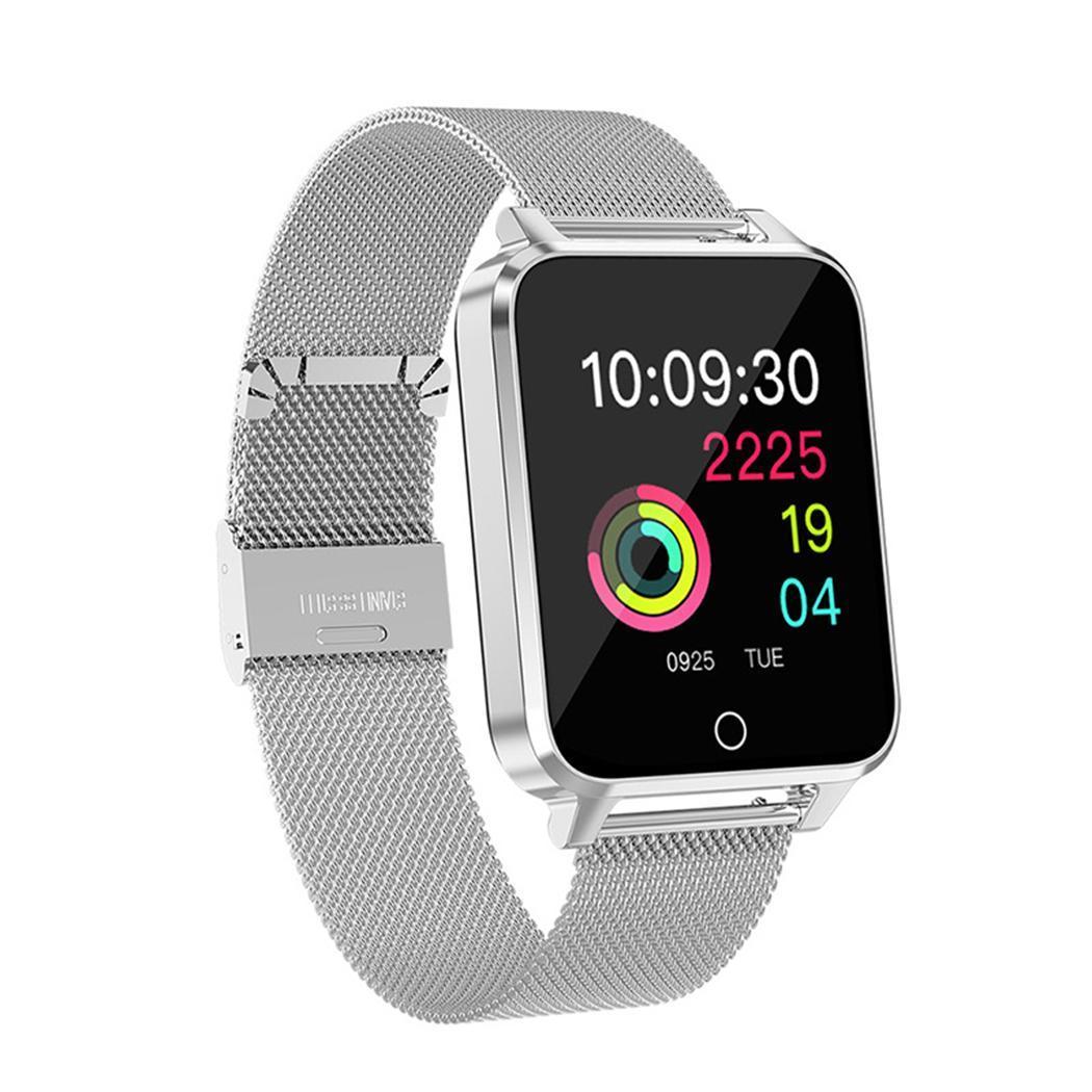Bracelet en métal montre Bluetooth intelligente étanche coeur 4.0 taux 250mAh Li-ion batterie podomètre 1.54 pouces Bracelet