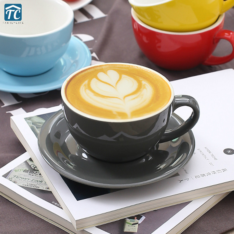 Us 17 05 29 Off Macarons European Coffeeware Coffee Cup Set Thicken Professional Wide Mouth Embossed Pull Cups Latte Mug Home Kitchen Breakfast In