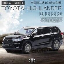 1/32 Toyota Highlander Diecasts & Toy модель автомобиля со звуком и светом коллекционная машинка игрушки для мальчика Детский подарок на день рождения