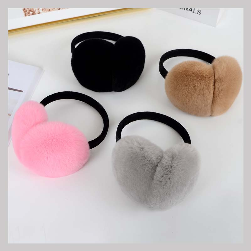Ms.MinShu Real Rex Rabbit Fur Earmuffs Woman Rabbit Fur Earmuff  Christmas Gift Cute Ear Warmer Winter Warm Earmuffs Unisex