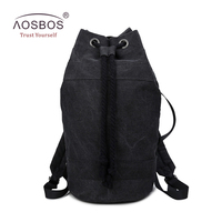 Aosbos 2017 Durable Canvas Drawstring Backpacks For Women Men Bucket Gym Bag For Training Outdoor Sport