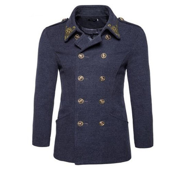 Mens Wool Coats Embroidery Trench Coats Skulls Button Double Breasted Wool Pea Coats Men Overcoat Black Grey Army Clothes