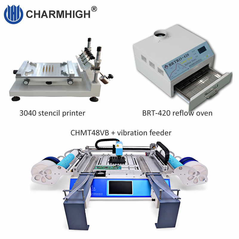 Best sale SMT Production line 3040 Stencil printer CHMT48VB pick and place machine vibration feeder Reflow