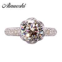 Luxury 3 Carat Petals Halo Shaped SONA Simulated Diamond Wedding Rings Women 100 Pure 925 Solid