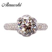 יוקרה 3 קרט עלי כותרת טבעת SONA nscd Halo לוטוס בצורת נשים טבעת נישואים אירוסין 100% כסף סטרלינג 925 מוצק טהור טבעת