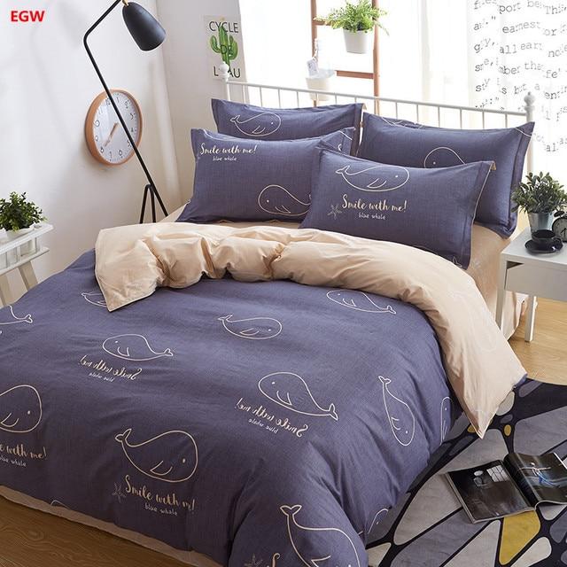Home Textile Autumn Whale Bedding Set 100 Cotton Dark Blue Duvet